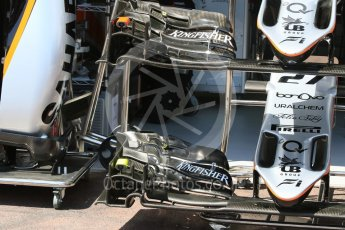 World © Octane Photographic Ltd. Sahara Force India VJM09 - noses and front wings. Wednesday 25th May 2016, F1 Monaco GP Paddock, Monaco, Monte Carlo. Digital Ref :1559CB7D9861
