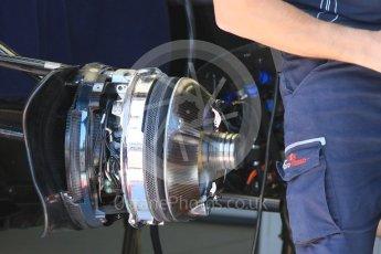 World © Octane Photographic Ltd. Scuderia Toro Rosso STR11 – front brakes. Wednesday 25th May 2016, F1 Monaco GP Paddock, Monaco, Monte Carlo. Digital Ref :1559CB7D9902
