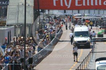 World © Octane Photographic Ltd. Pitlane reflected in race control window. Wednesday 25th May 2016, F1 Monaco GP Paddock, Monaco, Monte Carlo. Digital Ref :1559CB7D9942