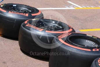 World © Octane Photographic Ltd. Scuderia Toro Rosso and Pirelli Supersoft tyres. Wednesday 25th May 2016, F1 Monaco GP Paddock, Monaco, Monte Carlo. Digital Ref :1559CB7D9969