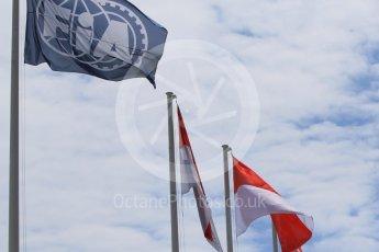 World © Octane Photographic Ltd. FIA and Monaco flags. Wednesday 25th May 2016, F1 Monaco GP Paddock, Monaco, Monte Carlo. Digital Ref :1559CB7D9975