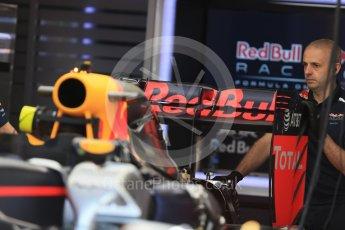 World © Octane Photographic Ltd. Red Bull Racing RB12 – Rear Wing. Wednesday 25th May 2016, F1 Monaco GP Paddock, Monaco, Monte Carlo. Digital Ref :1559LB1D4210