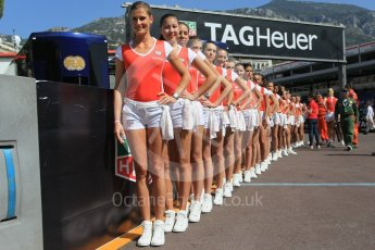 World © Octane Photographic Ltd. TAG Heuer grid girls. Friday 27th May 2016, GP2 Race 1, Monaco, Monte Carlo. Digital Ref :1566CB1D7653