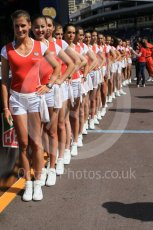 World © Octane Photographic Ltd. TAG Heuer grid girls. Friday 27th May 2016, GP2 Race 1, Monaco, Monte Carlo. Digital Ref :1566CB1D7660