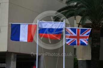 World © Octane Photographic Ltd. The flags of Russian Time – Artem Markelov (1st - Russia), Racing Engineering - Norman Nato (2nd - France) and MP Motorsport – Oliver Rowland (3rd - United Kingdom of Great Britain). Friday 27th May 2016, GP2 Race 1 Podium, Monaco, Monte Carlo. Digital Ref :1566CB1D8771