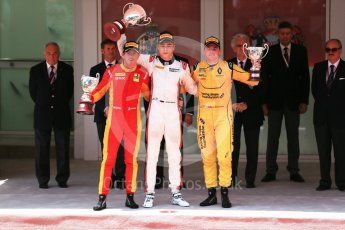 World © Octane Photographic Ltd. Russian Time – Artem Markelov (1st), Racing Engineering - Norman Nato (2nd) and MP Motorsport – Oliver Rowland (3rd). Friday 27th May 2016, GP2 Race 1 Podium, Monaco, Monte Carlo. Digital Ref :1566CB1D8800