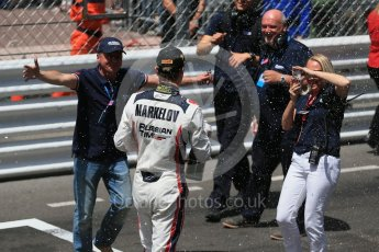 World © Octane Photographic Ltd. Russian Time celebrating Artem Markelov's win. Friday 27th May 2016, GP2 Race 1 parc ferme, Monaco, Monte Carlo. Digital Ref :1566CB1D8845