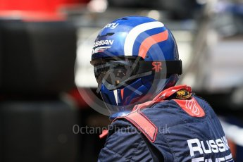 World © Octane Photographic Ltd. Russian Time mechanic waiting for a pitstop. Friday 27th May 2016, GP2 Race 1, Monaco, Monte Carlo. Digital Ref :1566CB7D1641