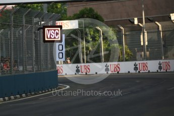 World © Octane Photographic Ltd. Virtual Safety Car (VSC) sign. Friday 16th September 2016, F1 Singapore GP Practice 1, Marina Bay Circuit, Singapore. Digital Ref :