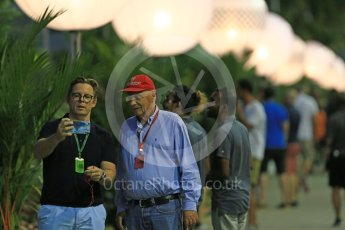 World © Octane Photographic Ltd. Niki Lauda in the Paddock with a fan. Friday 16th September 2016, F1 Singapore GP Practice 1, Marina Bay Circuit, Singapore. Digital Ref :