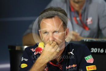 World © Octane Photographic Ltd. F1 Singapore GP FIA Personnel Press Conference, Marina Bay Circuit, Singapore. Friday 16th September 2016. Christian Horner – Team Principal Red Bull Racing. Digital Ref : 1718LB1D0231