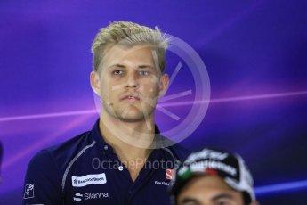 World © Octane Photographic Ltd. F1 Singapore GP FIA Drivers' Press Conference, Marina Bay Circuit, Singapore. Thursday 15th September 2016. Sauber F1 Team – Marcus Ericsson. Digital Ref :1714LB1D8808