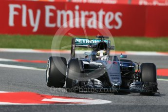 World © Octane Photographic Ltd. Mercedes AMG Petronas W07 Hybrid – Lewis Hamilton. Friday 13th May 2016, F1 Spanish GP - Practice 1, Circuit de Barcelona Catalunya, Spain. Digital Ref : 1536LB1D4026