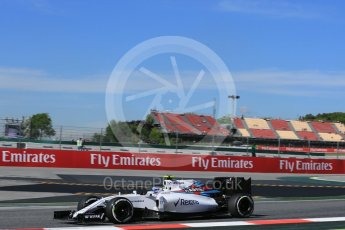 World © Octane Photographic Ltd. Williams Martini Racing, Williams Mercedes FW38 – Valtteri Bottas. Friday 13th May 2016, F1 Spanish GP - Practice 1, Circuit de Barcelona Catalunya, Spain. Digital Ref : 1536LB5D3110