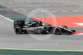 World © Octane Photographic Ltd. Sahara Force India VJM09 - Sergio Perez. Friday 13th May 2016, F1 Spanish GP - Practice 2, Circuit de Barcelona Catalunya, Spain. Digital Ref : 1539CB1D8148
