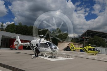 World © Octane Photographic Ltd. Medical helicopters on standby. Friday 13th May 2016, F1 Spanish GP Practice 2, Circuit de Barcelona Catalunya, Spain. Digital Ref : 1539CB7D6709