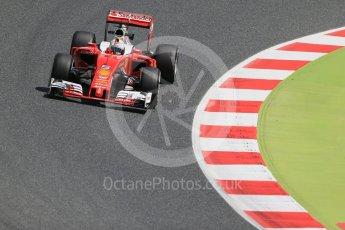 World © Octane Photographic Ltd. Scuderia Ferrari SF16-H – Sebastian Vettel. Friday 13th May 2016, F1 Spanish GP Practice 2, Circuit de Barcelona Catalunya, Spain. Digital Ref : 1539LB1D5197