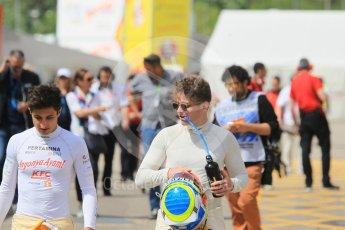 World © Octane Photographic Ltd. Pertamina Campos Racing – Mitch Evans and MP Motorsport - GP2/11 – Oliver Rowland . Friday 13th May 2016, GP2 Practice, Circuit de Barcelona Catalunya, Spain. Digital Ref :1538CB1D7625