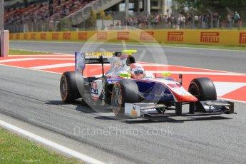 World © Octane Photographic Ltd. Trident - GP2/11 – Luca Ghiotto. Friday 13th May 2016, GP2 Practice, Circuit de Barcelona Catalunya, Spain. Digital Ref :1538CB1D7982
