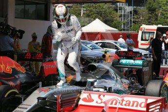 World © Octane Photographic Ltd. Mercedes AMG Petronas W07 Hybrid – Lewis Hamilton. Saturday 14th May 2016, F1 Spanish GP - Qualifying, Circuit de Barcelona Catalunya, Spain. Digital Ref : 1546LB1D7026