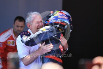 World © Octane Photographic Ltd. Red Bull Racing RB12 – Max Verstappen and Dr.Helmut Marko. Sunday 15th May 2016, F1 Spanish GP Parc Ferme, Circuit de Barcelona Catalunya, Spain. Digital Ref :