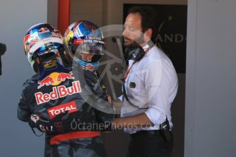 World © Octane Photographic Ltd. Red Bull Racing RB12 – Max Verstappen and Daniel Ricciardo. Sunday 15th May 2016, F1 Spanish GP Parc Ferme, Circuit de Barcelona Catalunya, Spain. Digital Ref :