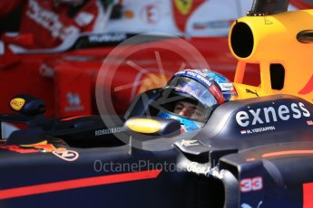 World © Octane Photographic Ltd. Red Bull Racing RB12 – Max Verstappen. Sunday 15th May 2016, F1 Spanish GP Parc Ferme, Circuit de Barcelona Catalunya, Spain. Digital Ref :