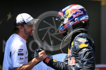 World © Octane Photographic Ltd. Red Bull Racing RB12 – Max Verstappen and Fernando Alonso. Sunday 15th May 2016, F1 Spanish GP Parc Ferme, Circuit de Barcelona Catalunya, Spain. Digital Ref :