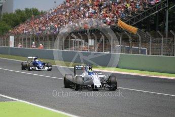 World © Octane Photographic Ltd. Williams Martini Racing, Williams Mercedes FW38 – Felipe Massa and Sauber F1 Team C35 – Marcus Ericsson. Sunday 15th May 2016, F1 Spanish GP Race, Circuit de Barcelona Catalunya, Spain. Digital Ref :