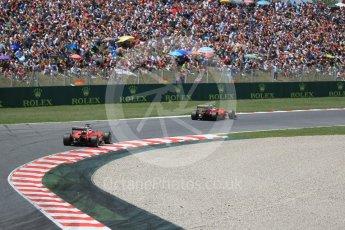 World © Octane Photographic Ltd. Scuderia Ferrari SF16-H – Sebastian Vettel and Kimi Raikkonen in turn 8. Sunday 15th May 2016, F1 Spanish GP Race, Circuit de Barcelona Catalunya, Spain. Digital Ref :