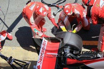 World © Octane Photographic Ltd. Scuderia Ferrari SF16-H – Sebastian Vettel pitstop. Sunday 15th May 2016, F1 Spanish GP Race, Circuit de Barcelona Catalunya, Spain. Digital Ref :