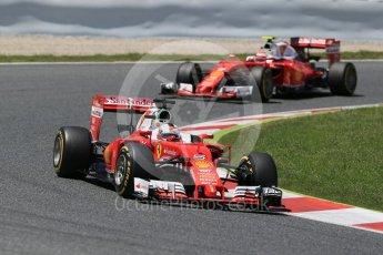 World © Octane Photographic Ltd. Scuderia Ferrari SF16-H – Sebastian Vettel and Kimi Raikkonen. Sunday 15th May 2016, F1 Spanish GP Race, Circuit de Barcelona Catalunya, Spain. Digital Ref :