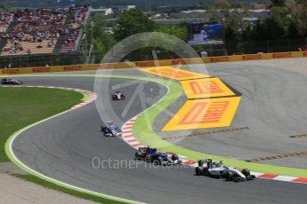 World © Octane Photographic Ltd. Williams Martini Racing, Williams Mercedes FW38 – Felipe Massa leads the Saubers. Sunday 15th May 2016, F1 Spanish GP Race, Circuit de Barcelona Catalunya, Spain. Digital Ref :