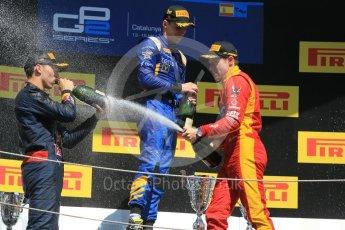 World © Octane Photographic Ltd. DAMS – Alex Lynn (1st), Prema Racing Pierre Gasly (2nd) and Racing Engineering – Jordan King (3rd). Sunday 15th May 2016, GP2 Race 2, Circuit de Barcelona Catalunya, Spain. Digital Ref :1551CB1D1200
