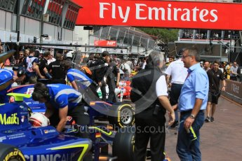 World © Octane Photographic Ltd. Busy pitlane. Thursday 26th May 2016, GP2 Practice, Monaco, Monte Carlo. Digital Ref : 1558CB7D0883