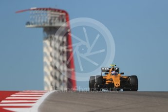 World © Octane Photographic Ltd. Renault Sport F1 Team RS16 – Jolyon Palmer. Friday 21st October 2016, F1 USA Grand Prix Practice 1, Austin, Texas – Circuit of the Americas (COTA). Digital Ref :1742LB1D0347