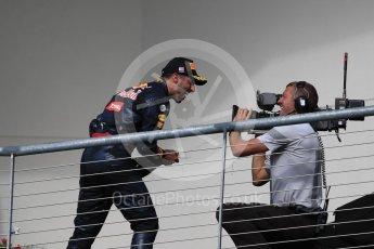 World © Octane Photographic Ltd. Red Bull Racing – Daniel Ricciardo (3rd). Sunday 23rd October 2016, F1 USA Grand Prix Podium, Austin, Texas – Circuit of the Americas (COTA). Digital Ref :1750LB1D4495