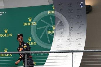 World © Octane Photographic Ltd. Red Bull Racing RB12 – Daniel Ricciardo (3rd). Sunday 23rd October 2016, F1 USA Grand Prix Podium, Austin, Texas – Circuit of the Americas (COTA). Digital Ref :1750LB1D4733