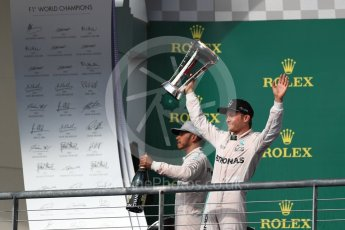 World © Octane Photographic Ltd. Mercedes AMG Petronas – Lewis Hamilton (1st) and Nico Rosberg (2nd). Sunday 23rd October 2016, F1 USA Grand Prix Podium, Austin, Texas – Circuit of the Americas (COTA). Digital Ref :1750LB1D4778