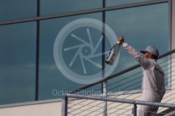 World © Octane Photographic Ltd. Mercedes AMG Petronas W07 Hybrid – Lewis Hamilton (1st). Sunday 23rd October 2016, F1 USA Grand Prix Podium, Austin, Texas – Circuit of the Americas (COTA). Digital Ref :1750LB1D4781