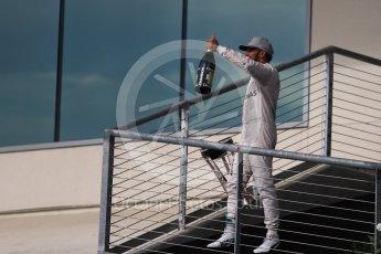World © Octane Photographic Ltd. Mercedes AMG Petronas W07 Hybrid – Lewis Hamilton (1st). Sunday 23rd October 2016, F1 USA Grand Prix Podium, Austin, Texas – Circuit of the Americas (COTA). Digital Ref :1750LB1D4791