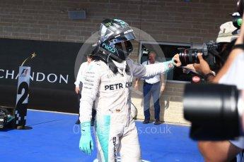 World © Octane Photographic Ltd. Mercedes AMG Petronas W07 Hybrid – Nico Rosberg (2nd). Sunday 23rd October 2016, F1 USA Grand Prix Parc Ferme, Austin, Texas – Circuit of the Americas (COTA). Digital Ref :1750LB2D5996