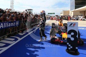 World © Octane Photographic Ltd. Red Bull Racing RB12 – Daniel Ricciardo (3rd). Sunday 23rd October 2016, F1 USA Grand Prix Parc Ferme, Austin, Texas – Circuit of the Americas (COTA). Digital Ref :1750LB2D6152