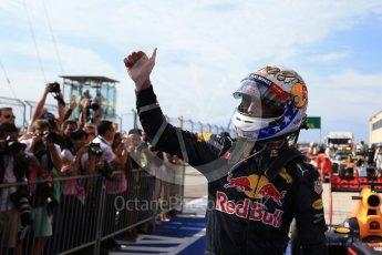 World © Octane Photographic Ltd. Red Bull Racing RB12 – Daniel Ricciardo (3rd). Sunday 23rd October 2016, F1 USA Grand Prix Parc Ferme, Austin, Texas – Circuit of the Americas (COTA). Digital Ref :1750LB2D6168