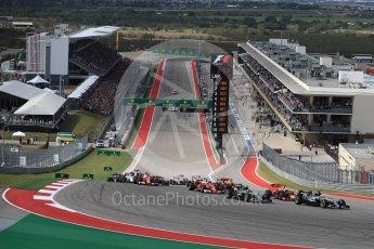 World © Octane Photographic Ltd. Mercedes AMG Petronas W07 Hybrid – Lewis Hamilton leads into turn 1. Sunday 23rd October 2016, F1 USA Grand Prix Race, Austin, Texas – Circuit of the Americas (COTA). Digital Ref :1749LB1D3602
