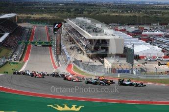 World © Octane Photographic Ltd. Mercedes AMG Petronas W07 Hybrid – Lewis Hamilton leads into turn 1. Sunday 23rd October 2016, F1 USA Grand Prix Race, Austin, Texas – Circuit of the Americas (COTA). Digital Ref :1749LB1D3603