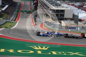 World © Octane Photographic Ltd. Manor Racing MRT05 – Esteban Ocon and Pascal Wehrlein sandwich the Sauber F1 Team C35 of Felipe Nasr. Sunday 23rd October 2016, F1 USA Grand Prix Race, Austin, Texas – Circuit of the Americas (COTA). Digital Ref :1749LB1D3612