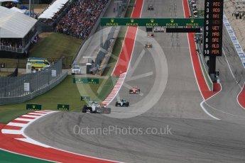 World © Octane Photographic Ltd. Mercedes AMG Petronas W07 Hybrid – Lewis Hamilton leads the start of lap 2. Sunday 23rd October 2016, F1 USA Grand Prix Race, Austin, Texas – Circuit of the Americas (COTA). Digital Ref :1749LB1D3632