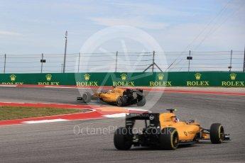 World © Octane Photographic Ltd. Renault Sport F1 Team RS16 - Kevin Magnussen and Jolyon Palmer. Sunday 23rd October 2016, F1 USA Grand Prix Race, Austin, Texas – Circuit of the Americas (COTA). Digital Ref : 1749LB1D4156