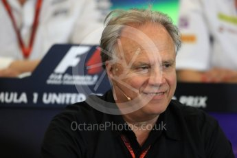World © Octane Photographic Ltd. F1 USA Grand Prix Practice 2, Austin Texas – Circuit of the Americas (COTA) FIA Personnel Press Conference. Friday 21st October 2016. Gene Haas - Haas F1 Team Owner. Digital Ref :1744LB1D1442